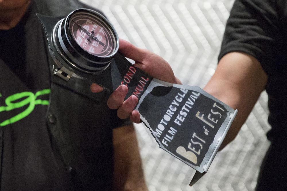 Seattle Speedometer's 2014 Second Annual Motorcycle Film Festival Best of Fest award. Photo ©Drury Photos